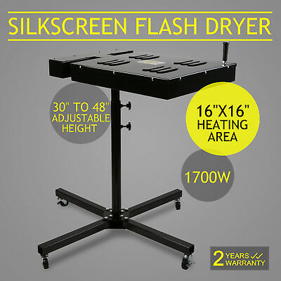 "16"" x 16"" Flash Dryer Silkscreen Printing T-Shirt 4 Wheels Ink Curing Electrical"