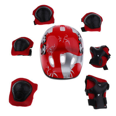 7 Pcs Children Crash Helmet - Knee Wrist Elbow Guard Pad - Roller Skate