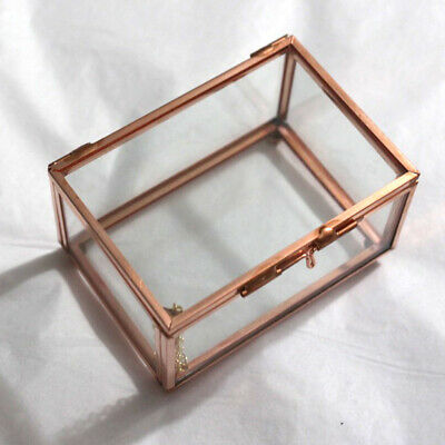 Cuboid Glass Copper Geometric Terrarium Succulent Plants Box DIY Desk Decor