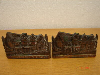 Pair solid brass William Shakespeare House Bookends