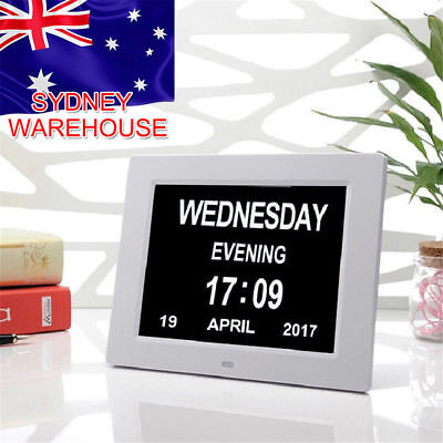 "8"" LED Extra Large Dementia Digital Calendar Clock Time Day Week Month Year AU"