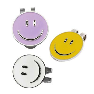 3Pcs Alloy Magnetic Hat Clips with Happy Face Golf Ball Markers Golfer Gift
