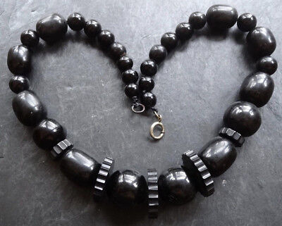 antique Victorian WHITBY JET round & fancy carved bead mourning necklace -N158
