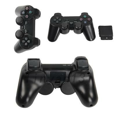 2PCS Black Dual Shock WIRELESS Controller Joypad Gamepad For Sony PS2 New