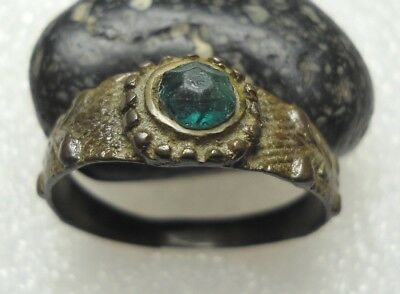 Ancient Roman Bronze Ring Green stone Original Authentic Antique Rare