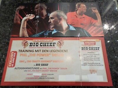 04.03.18 Trainings Ticket mit PDC Dart Weltmeister Phil Taylor, Eric Bristow