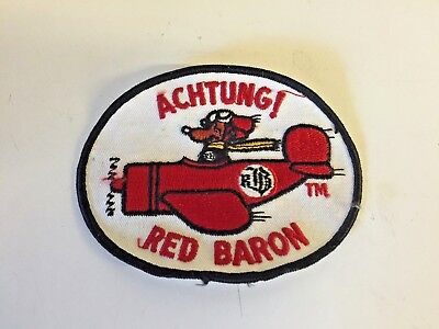 Vintage ACHTUNG Red Baron Oval Patch German Peanuts Style Red White Black Plane