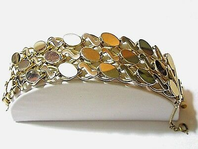 Wide Chunky Gold Tone Disk Multirow Squiggle Bracelet Vintage Mid Century Bold