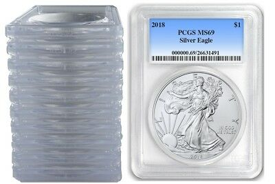 2018 1oz Silver Eagle PCGS MS69 - Blue Label 10 Pack - In Stock