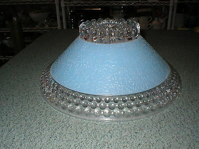 Antique Deco Depression Era Ceiling Shade Blue & Clear Center Hole Mount