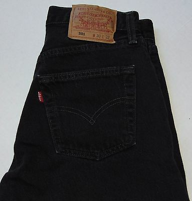 VINTAGE 90s Levi's 501 Button Fly Jeans Black Size Women's 30x26 Made in USA EUC