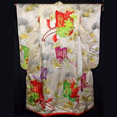"Vintage Japanese Wedding Kimono Uchikake Woman's Bridal Dress ""Treasure Carts"""