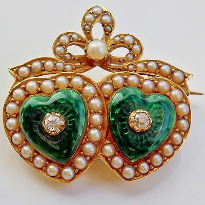 Victorian 15ct Gold Green Enamel, Diamond & Pearl 'Entwined Hearts' Brooch c1885