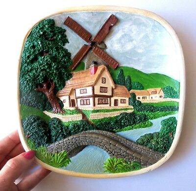 Vintage Legend Product 1970's Windmill Scene Wall Plaque English Village Counry