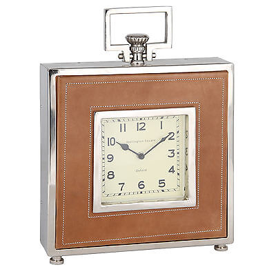 Vintage Style Tan Brown Leather Polished Metal Shelf Table Mantel Square Clock
