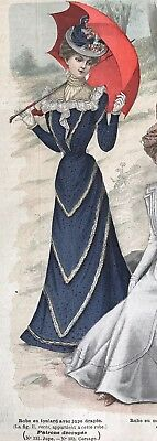 MODE ILLUSTREE SEWING PATTERN July 2,1899 ROBE EN FOULARD , CORSET