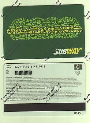 SUBWAY QUEBEC 2015 MINT GIFT CARD FROM CANADA BILINGUAL NO VALUE (rechargeable)