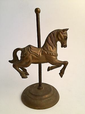 """Vintage Solid Brass Carousel Horse Figurine Merry-Go-Round W/ Stand 8"""""""