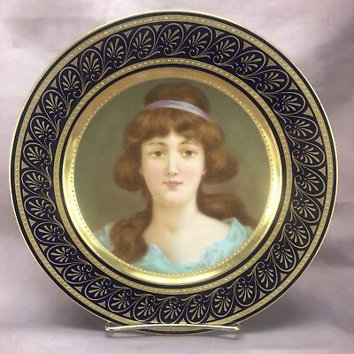 Royal Vienna Cobalt Blue & Gold Hand Painted Katharina Frohlich Portrait Plate