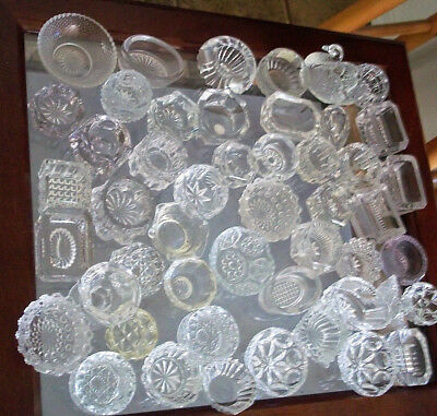 Antique collection 50 fine cut glass crystal salts cellars vintage tableware!