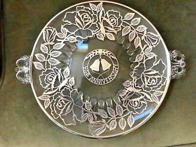 Vintage 25th Anniversary Plate, Sterling Silver Overlay Crystal
