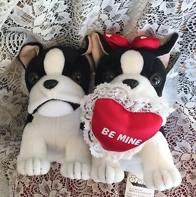 Stuffins Boston Terrier Plush Valentines Couple -Retired Rare With Tags