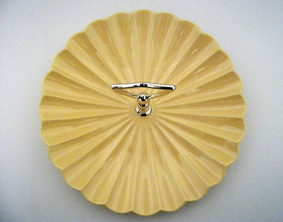 Vintage Tidbit Tray California Pottery Yellow C603 Shell Pattern