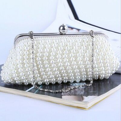 Women Lady Party Bridal Pearl Handbag Wedding Evening Purse Beaded Clutch Bag