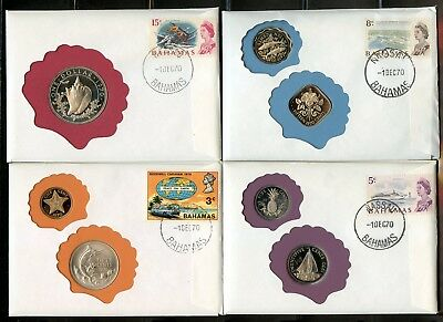 Bahamas 1970 7 Proof Coins On Four Covers Canceled 10Dsec70