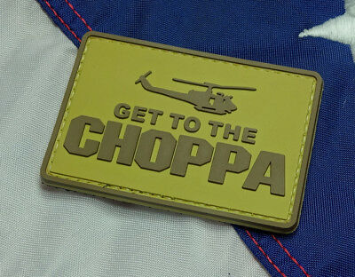 Get To The Choppa Desert Pvc Morale Patch Hook Tactical Arnold Movie Predator