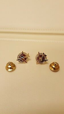 Vintage National Airlines 10K Gold , Enamel , Ruby's And Diamond Accent Lapel...