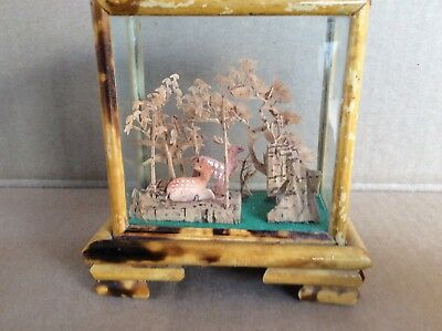 Vintage Chinese Cork Art Diorama W/ Deer In Bamboo Trim Box
