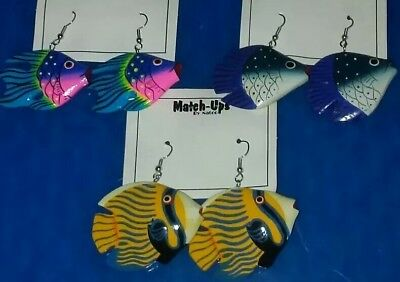 """3 pair Large """"Tropical Fish"""" earrings.🐠BUY NOW GET 1 EXTRA PAIR INCLUDED FREE!"""