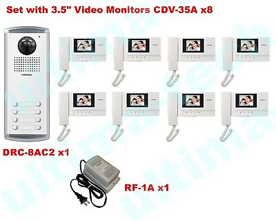 Commax 8-Apartment Video Intercom Set: 8-Button Door Camera & Video Monitors x8