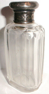 Antique  Victorian sterling silver crystal perfume scent bottle