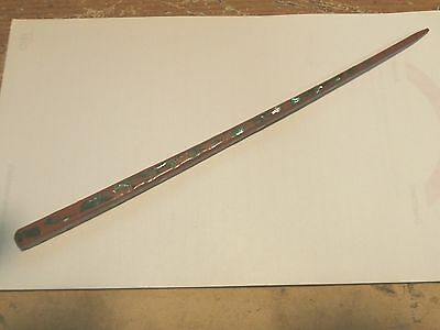 """Vintage Hand Made Wooden 4 Sided  Hair Pin Stick With Abalone Inlay 9"""" Long"""