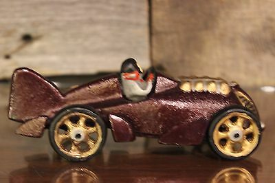 Vintage Early-to-Mid 20th Century Hubley Cast Iron Race Car (Burgundy Color)