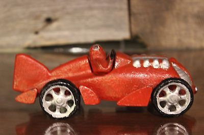 Vintage Early-to-Mid 20th Century Hubley Cast Iron Race Car (Red Color)