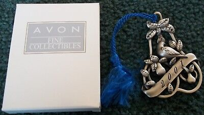 Avon 2001 Pewter Christmas Ornament Partridge In A Pear Tree With Box