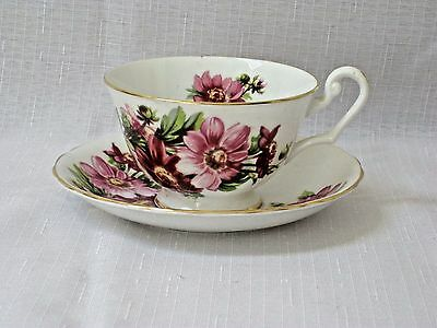 Clarence cup and saucer with pink chrysanthemums flowers and gold trim