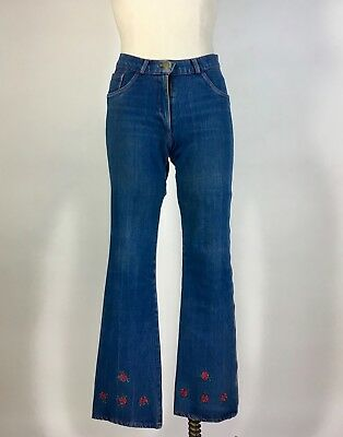 Vintage 1970's flare BELL BOTTOM blue denim jeans with red floral embroidery XS
