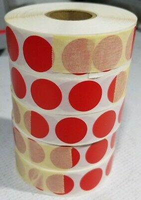 Circle Dot Stickers, 3/4 Inch Round, 500 Labels on a Roll RED 5 pack