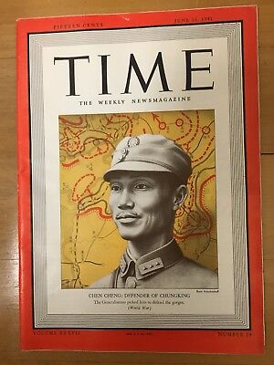 Rare Original Time Jun 1941 Magazine China Chiang Kai Shek General Chen Cheng 陈诚