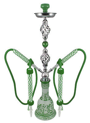 "34"" Arabic Winds Green 2 Hose Hookah Package + Bonus Egyptian Style Shisha"