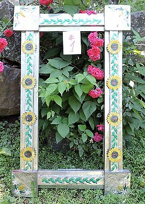 "Vintage Mexican Folk Art Tin Mirror/picture Frame # 1 Sunflowers Huge 46"" Rare"