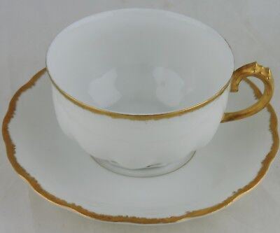 Antique Limoges Classic White/gold Cup & Saucer Set Scalloped Rims