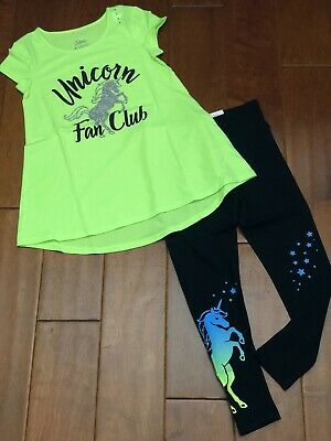 NWT JUSTICE Girls 8 10 Green Neon Sparkle Unicorn Swingy Tee & Leggings Set