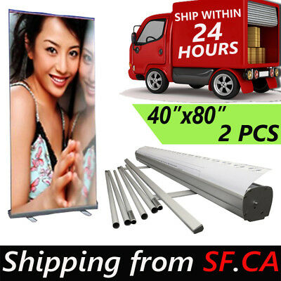 "2 PACK,48"" x80"" Retractable Roll Up Banner Stand Trade Show Pop Up Display Stand"