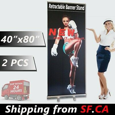 "2 pcs,40"" x 80"" Retractable Banner Stand Roll Up Trade Show Display Stand"