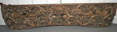 Antique Carved PAINTED Asian Chinese India Wood Headboard Panel w/ Dragon
